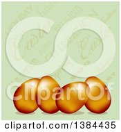 Clipart Of 3d Gold Easter Eggs Over A Vintage Green Text Background Royalty Free Vector Illustration