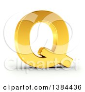 Clipart Of A 3d Golden Capital Letter Q On A Shaded White Background With Clipping Path Royalty Free Illustration by stockillustrations