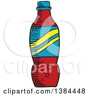 Clipart Of A Sketched Soda Bottle Royalty Free Vector Illustration