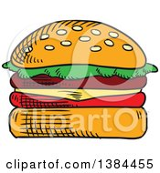 Clipart Of A Sketched Cheeseburger Royalty Free Vector Illustration