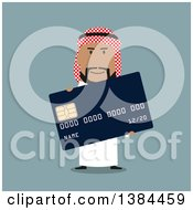 Clipart Of A Flat Design Arabian Business Man Holding A Credit Card On Blue Royalty Free Vector Illustration by Vector Tradition SM