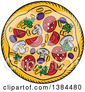 Clipart Of A Sketched Pizza Royalty Free Vector Illustration