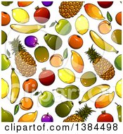 Clipart Of A Seamless Background Pattern Of Fruit Royalty Free Vector Illustration by Vector Tradition SM