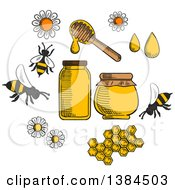 Clipart Of Sketched Bees Flowers And Honey Royalty Free Vector Illustration