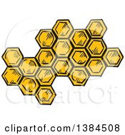 Clipart Of Sketched Honeycombs Royalty Free Vector Illustration