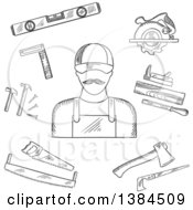 Clipart Of A Black And White Sketched Carpenter And Tools Royalty Free Vector Illustration