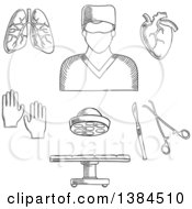 Clipart Of A Black And White Sketched Surgeon Doctor Organs And Accessories Royalty Free Vector Illustration by Vector Tradition SM
