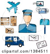 Clipart Of A Sketched Postman With Postage Stamps And Letterbox Packages And Van Airplane And Letters Royalty Free Vector Illustration