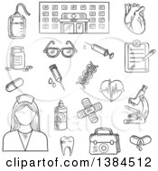 Clipart Of A Black And White Sketched Hospital Nurse And Medical Items Royalty Free Vector Illustration
