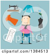 Clipart Of A Flat Design White Male Tailor And Accessories On Blue Royalty Free Vector Illustration by Vector Tradition SM