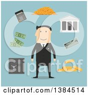 Clipart Of A Flat Design White Male Banker And Accessories On Blue Royalty Free Vector Illustration