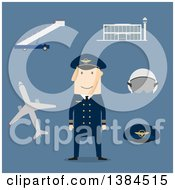 Clipart Of A Flat Design White Male Pilot And Accessories On Blue Royalty Free Vector Illustration