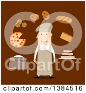 Clipart Of A Flat Design White Male Baker And Accessories On Brown Royalty Free Vector Illustration by Vector Tradition SM