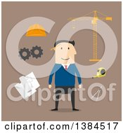 Clipart Of A Flat Design White Male Engineer And Accessories On Brown Royalty Free Vector Illustration