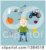 Clipart Of A Flat Design White Male Farmer And Accessories On Blue Royalty Free Vector Illustration