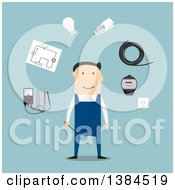 Clipart Of A Flat Design White Male Electrician And Accessories On Blue Royalty Free Vector Illustration by Vector Tradition SM