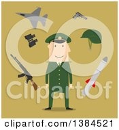 Clipart Of A Flat Design White Male Army Soldier And Accessories On Green Royalty Free Vector Illustration