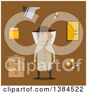 Clipart Of A Flat Design White Male Beekeeper And Accessories On Brown Royalty Free Vector Illustration