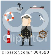 Clipart Of A Flat Design White Male Sea Captain And Accessories On Blue Royalty Free Vector Illustration