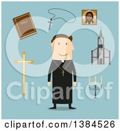 Clipart Of A Flat Design White Male Priest And Accessories On Blue Royalty Free Vector Illustration