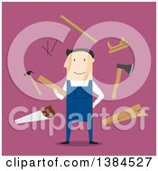 Clipart Of A Flat Design White Male Carpenter And Accessories On Pink Royalty Free Vector Illustration