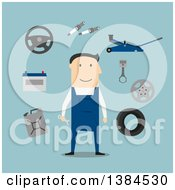 Flat Design White Male Mechanic With Equipment On Blue