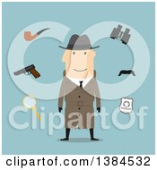 Clipart Of A Flat Design White Male Detective And Accessories On Blue Royalty Free Vector Illustration by Vector Tradition SM
