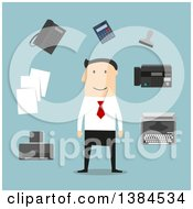 Clipart Of A Flat Design White Male Businessman And Accessories On Blue Royalty Free Vector Illustration by Vector Tradition SM