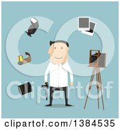Clipart Of A Flat Design White Male Photographer And Accessories On Blue Royalty Free Vector Illustration