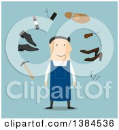 Clipart Of A Flat Design White Male Cobbler And Accessories On Blue Royalty Free Vector Illustration by Vector Tradition SM