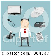 Clipart Of A Flat Design White Male Reporter And Accessories On Blue Royalty Free Vector Illustration by Seamartini Graphics