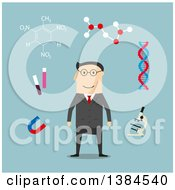 Clipart Of A Flat Design White Male Scientist And Accessories On Blue Royalty Free Vector Illustration