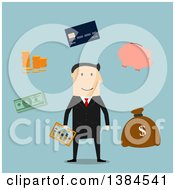 Clipart Of A Flat Design White Male Banker And Accessories On Blue Royalty Free Vector Illustration by Vector Tradition SM