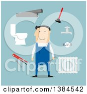 Clipart Of A Flat Design White Male Plumber And Accessories On Blue Royalty Free Vector Illustration