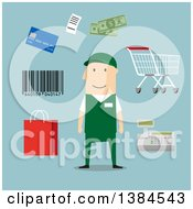 Clipart Of A Flat Design White Male Store Worker And Accessories On Blue Royalty Free Vector Illustration