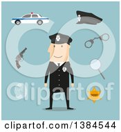 Clipart Of A Flat Design White Male Police Officer And Accessories On Blue Royalty Free Vector Illustration