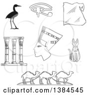 Clipart Of Black And White Sketched Egyptian Icons Of Queen Nefertiti Cat Goddess And Sacred Heron Bennu Eye Of Horus Symbol And Temple Columns Map Caravan Of Camels And Giza Pyramids Royalty Free Vector Illustration