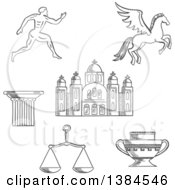 Clipart Of A Black And White Sketched Greek Runner Capital On A Column Pegasus And Amphora Scales And Temple Royalty Free Vector Illustration