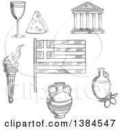 Clipart Of A Black And White Sketched Greek Flag Parthenon Temple And Ancient Amfora Torch With Flame And Olive Oil Wine And Cheese Royalty Free Vector Illustration