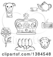 Clipart Of A Black And White England Heraldic Tudor Rose And Park Royal Dog And Tea Set Pie Sheep And Emperor Crown Royalty Free Vector Illustration by Vector Tradition SM