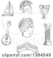 Clipart Of A Black And White Sketched Italian Caesar Roman Helmet Venice Bridge Ancient Vase Mandolin Doric Column And Sailboat Royalty Free Vector Illustration