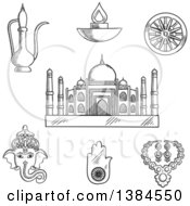 Clipart Of A Black And White Sketched Indian Ganesha God And Element Ashoka Chakra Wheel Hamsa Hand Amulet And Brass Teapot Ethnic Jewelry Diwali Lamp And Taj Mahal Royalty Free Vector Illustration by Vector Tradition SM