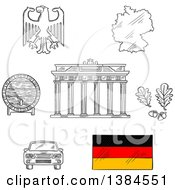 Clipart Of Sketched Germany Icons With Map And Flag Eagle Emblem And Oak Branches Wooden Barrel Of Beer Car And Brandenburg Gates Royalty Free Vector Illustration