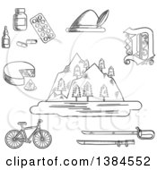 Clipart Of Black And White Sketched German Alps Mountains Forest And Lake Surrounded By Bavarian Hat And Cheese Medication And Gothic German Letter Bicycle And Medieval Sword Royalty Free Vector Illustration by Seamartini Graphics