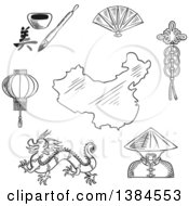 Clipart Of A Black And White Sketched Chinese Dragon And Mandarin Or Chinaman Lantern And Calligraphy Fan And Wealth Symbol Around A Map Of China Royalty Free Vector Illustration