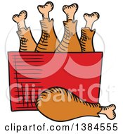 Clipart Of A Sketched Box Of Chicken Drumsticks Royalty Free Vector Illustration