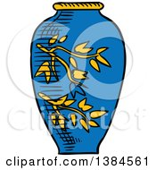Clipart Of A Sketched Vase Royalty Free Vector Illustration