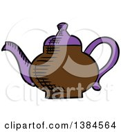 Clipart Of A Sketched Tea Pot Royalty Free Vector Illustration