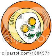 Clipart Of A Sketched Plate With Sunny Side Up Eggs Royalty Free Vector Illustration