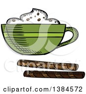 Clipart Of A Sketched Frothy Coffee Royalty Free Vector Illustration